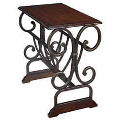 Contemporary End Table Magazine Rack Chair Side Metal Base Accent Brown Wood New