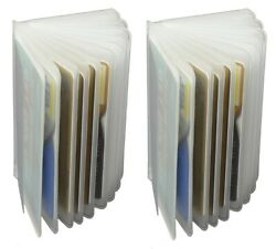 WALLET INSERT SET OF 2 Clear & Plastic 12 PAGES CARD PICTURE HOLDER TRIFOLD NEW $6.98