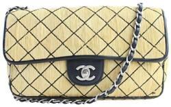 Chanel Classic Flap Quilted Beige Straw Messenger Bag 14cr0702