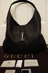 100% Authentic Gucci Soft Jackie Hobo in Black pebbled leather. MSRP US3K BNWT!!