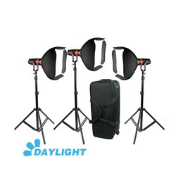 55w Came-tv Boltzen Focusable High Output Led Video Fresnel 3pcs Stand Softbox