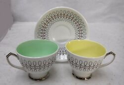 Clarence England China Black Swirl Lines 1591/89 K And A 2 Cups And 1 Saucer Set
