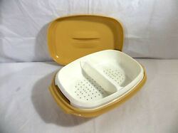 Tupperware Harvest Gold And White 4 Pc Meals In Minutes Divided Microsteamer