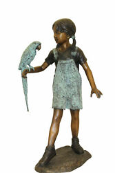 Girl Holding A Parrot Bronze Statue - Size 26l X 19w X 42h.