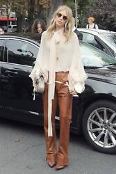 NEW Gucci Leather Pants Beige 42 6 Two Pockets Straight Leg Mid-Rise Classic $599.99