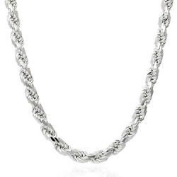 Solid 925 Sterling Silver Italian Rope Chain Necklace 16-30