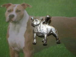 American Staffordshire Terrier Pendant Made Sterling Silver 925