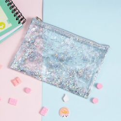 Makeup Organizer Sequins Cosmetic Envelope Case Bags Pouch PVC Transparent Women