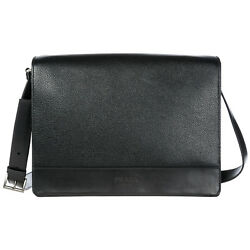 PRADA MEN'S LEATHER CROSS-BODY MESSENGER SHOULDER BAG BLACK 2CF