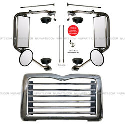 Metal Grille w Surround Chrome & Door Mirror Heated LH & RH (Fit: Mack CT713 )