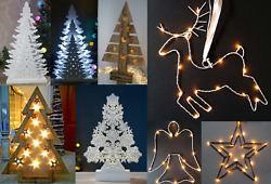 Wooden Table Top Christmas Tree & Metal Wire Pre Lit Decoration LED Festive Xmas