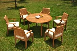 A-grade Teak 7pc Dining 52 Round Table 6 Lagos Arm Chair Set Outdoor Patio