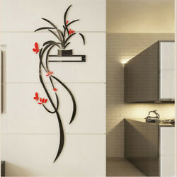 Red Orchid Flower 3D Acrylic Wall Sticker Self adhesion Home Decor Living Room