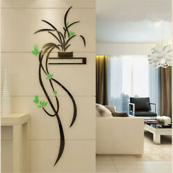 Green Orchid Flower 3D Acrylic Wall Sticker Self adhesion Home Decor Living Room