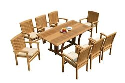 A-grade Teak 9pc Dining Warwick Folding Rectangle Table Wave Stacking Chair Set