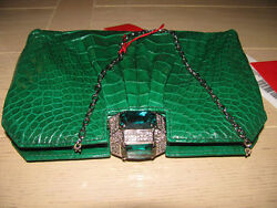 100 % Authentic Stunning Valentino Green Glazed Alligator BagClutch