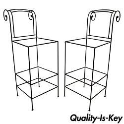 Pair Of Wrought Iron Curule Frame Scroll Back 30 Seat Bar Counter Stools Chairs