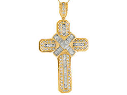 10k Or 14k Yellow Gold Gleaming White Cz Accented Latin Cross Big Pendant