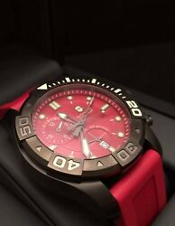 Victorinox Swiss Army Red Dial Dive Master 500 Men's Chronograph Watch Red Strap