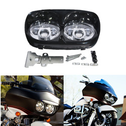 Dual Led Headlight Projector Lamp For Harley Road Glide 1998-2013 2012 2011 2010