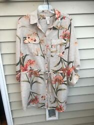Chicos Shirt Dress Tunic Top Size 3 Multicolor Floral Belted Button Front