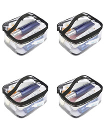 Clear Travel Cosmetic Bag Makeup Pouch Train Case Organizer with (Pack of 4)