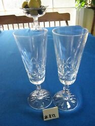 Pair Waterford Kylemore Fluted Champagne, 7 7/8h, Price/pair. Xlnt. Cond.