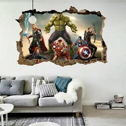 Cartoon Movie Avengers Wall Stickers For Kids Rooms Home Decor 3d Effect