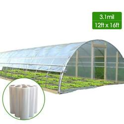 Dcp 3.1mil Plastic Covering Clear Greenhouse Film Uv Resistant,12x16ft