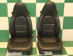 97-04 Boxster Blue Leather Left Right Manual Track Power Recline Bucket Seat Set