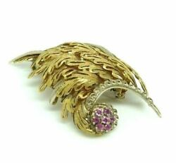Broche Vintage Ans And03950 Made In Italy Or Massif 18 Kt Avec Saphirs Rose