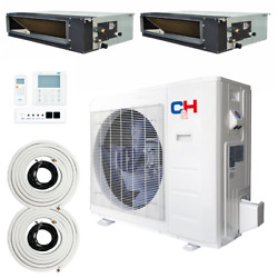 Multi Zone Dual 2 Zone 9000 9000 Concealed Duct Mini Split Air Conditioner Set
