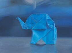 Framed Original Oil Painting, Origami On Blue, Oil On Board 18x24