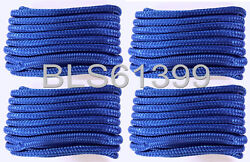 4 Blue Boat Dock Lines 1/2 Double Braid Hq Marine Rope 2 Each 15and039 And 20and039 Feet