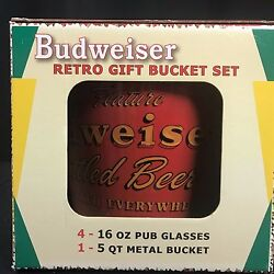 Budweiser Ice Bucket 4 Glasses Retro Gift Set Man Cave New In Box Small Dent