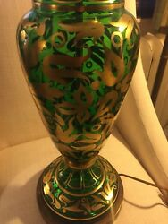"""Vintage Pair 38""""green Glass Lamps Gold Decor And Glass Finial Bohemian Murano"""
