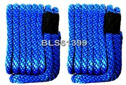 Set Of 2 Blue Solid Braided Mfp 3/8 In X 15and039 Ft Boat Marine Dock Line Ropes