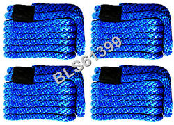 Set Of 4 Blue Solid Braided Mfp 3/8 In X 15and039 Ft Boat Marine Dock Line Ropes