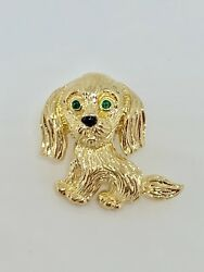 Van Cleef & Arpels 18K YG Emerald Onyx Terrier Dog Brooch Pin