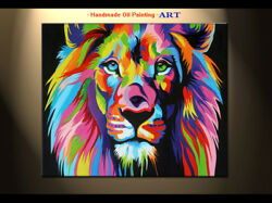 Handpainted Modern Animal Colorful Lion king Oil painting Canvas Art Home Decor