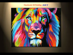 Handpainted Modern Animal Oil painting canvas Art wall Colorful Lion king Decor