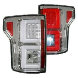 Recon For 15-17 Ford F150 Chrome Fiber Optic Led Tail Lights 264268cl