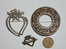 Vintage Estate 3 Lot Iona Scotland Sterling Silver Brooches Pins Was 500