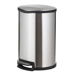Home Zone Stainless Steel Kitchen Trash Can with Semi-Round Design and Step...