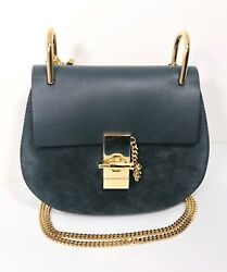 New Chloe Drew Leather and Suede Dark Blue Small Crossbody bag