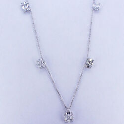 2.15ct F Si 18k White Gold Diamond Necklace 7 Sections