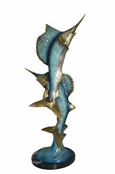 Two Sailfish Jumping Of Water Bronze Statue - Size 13l X 6w X 28h.