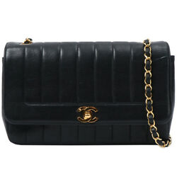 Vintage CHANEL Mademoiselle Stitch Edge Design Flap Turn-lock Chain Bag Black
