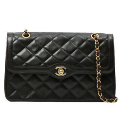 Vintage CHANEL Paris Limited Edge Design Flap Turn-lock Chain Bag Black