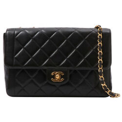 Vintage CHANEL Edge Design Flap Matelasse Plate 2way Chain Bag Black